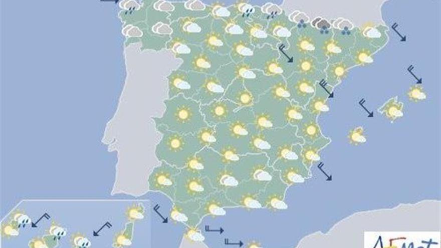 Hoy, lluvia en Navarra, Pirineos y País Vasco y poco nuboso en  resto España