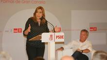 La precandidata a las primarias para liderar el PSOE, Susana Díaz, en Las Palmas de Gran Canaria.
