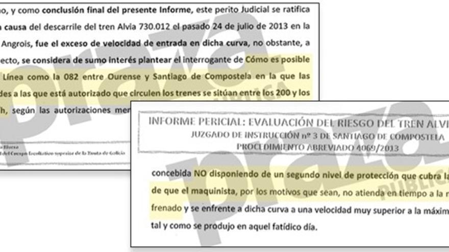 Fragmentos del informe entregado por el perito Lamela al juez Lago Louro