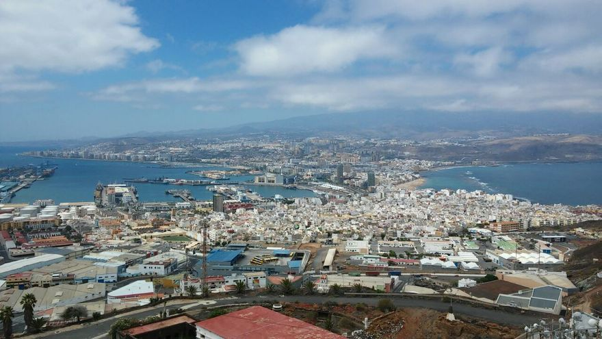 Vista de El Sebadal, La Isleta y Las Palmas de Gran Canaria desde El Vigía