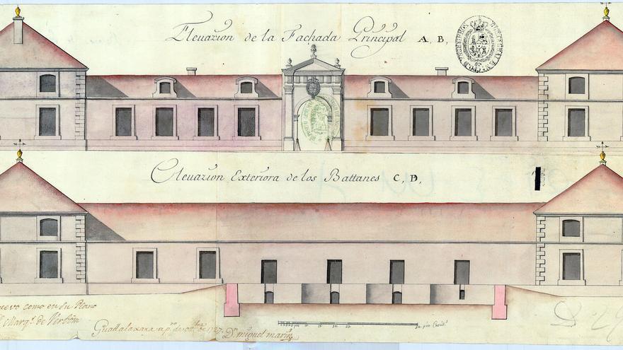 Plano de la fachada de los Reales Batanes en 1727