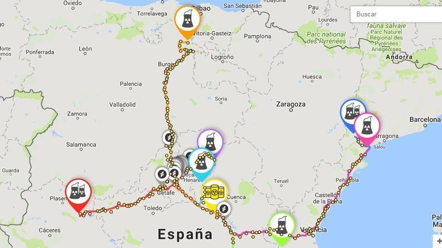 Mapa del recorrido de los residuos nucleares hasta Villar de Cañas