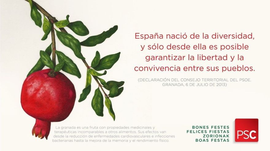 El PSC felicita las Fiestas apelando a la diversidad que reconoce 'Granada' y a los beneficios de esta fruta
