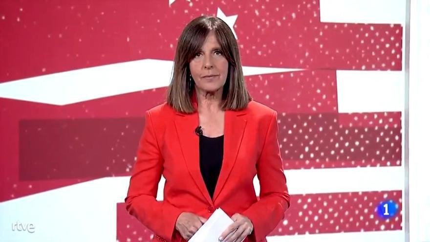 Ana Blanco, durante la información en el Telediario
