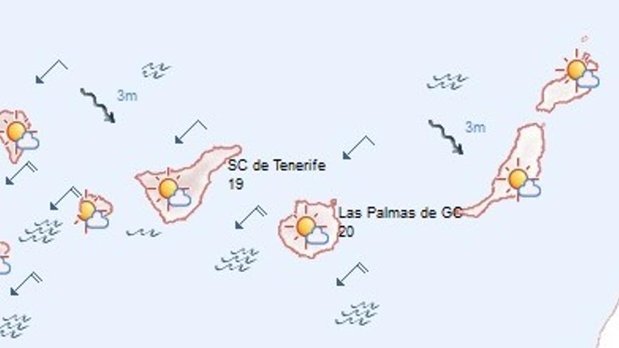 Previsión del tiempo en Canarias para este sábado.