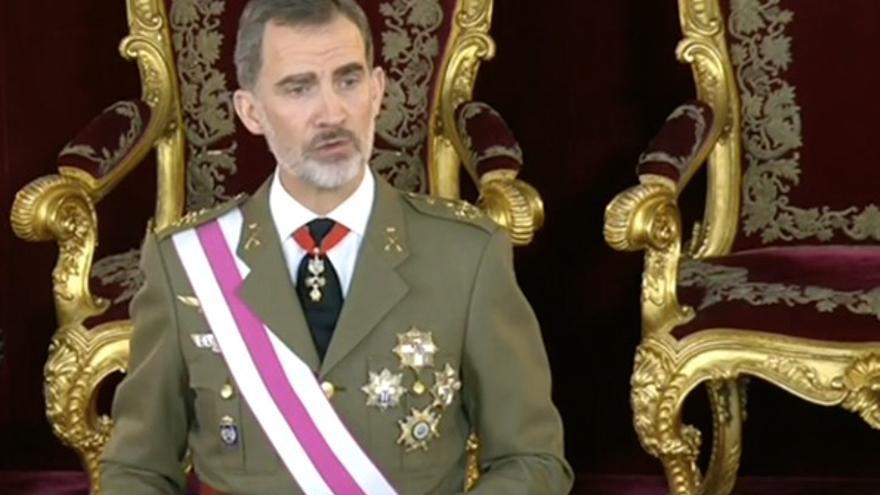 El rey Felipe VI durante el discurso de la Pascua Militar