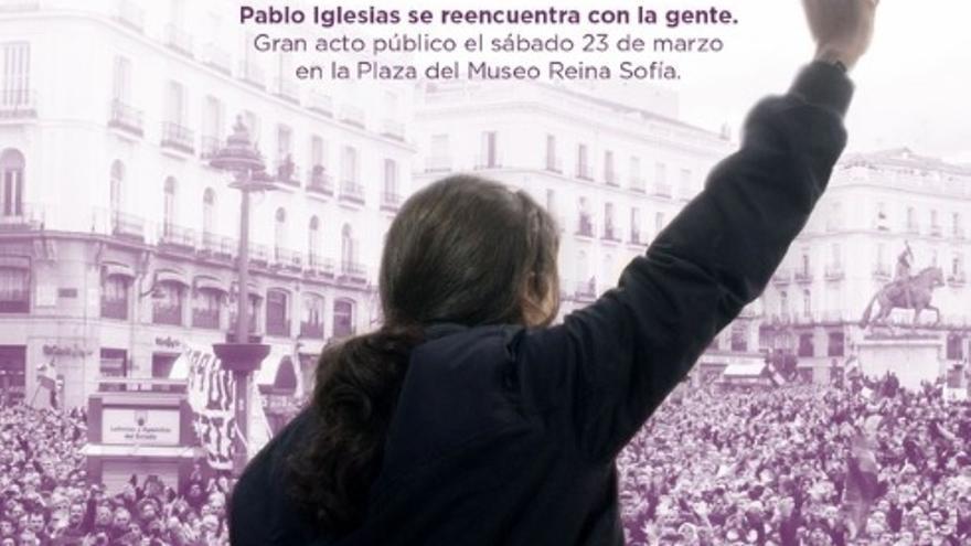 Cartel con el que Podemos ha anunciado la vuelta de Pablo Iglesias
