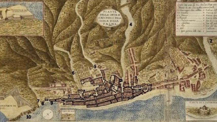 Dibujo de Torriani de Santa Cruz de La Palma.