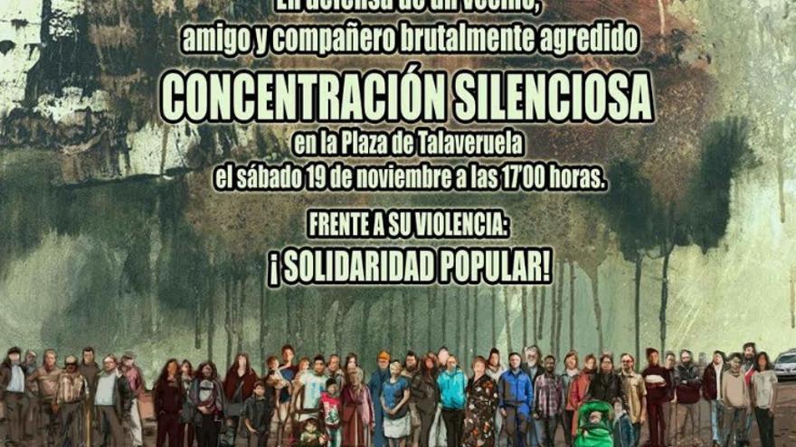 Concentración en Talaveruela en apoyo al activista agredido