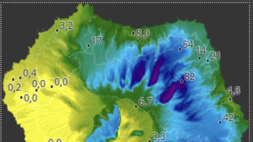 Mapa de HD Meteo La Palma de la lluvia caída, hasta las 16.30 horas de este domingo, 20 de octubre, en diversos puntos de La Palma.
