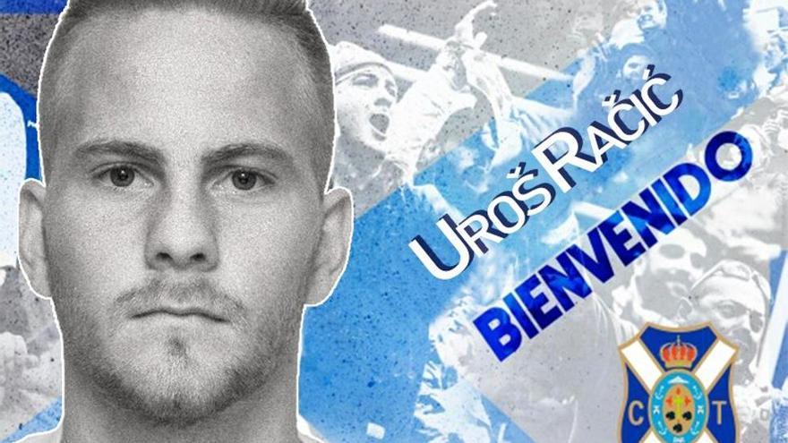 Fotomontaje de bienvenida a Uros Racic elaborado por el CD Tenerife.