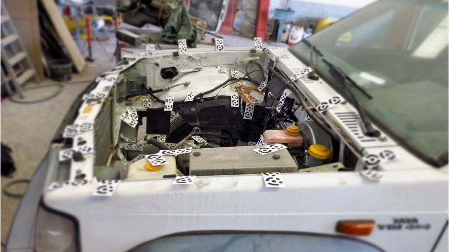 Uno de los prototipos durante el proceso de escaneo que luego permitirá diseñar las piezas de transformación. / Ecoche
