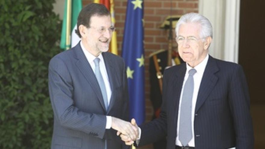 Mariano Rajoy y Mario Monti en Moncloa