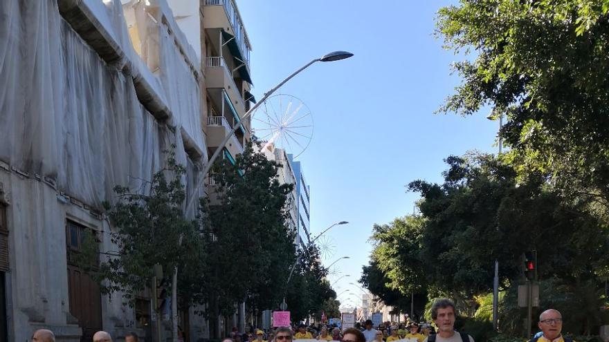 Cabecera de la protesta de este sábado en Santa Cruz de Tenerife