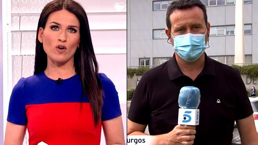Cristina Pampín, presentadora del Canal 24 Horas, y Óscar Arnaiz, reportero de Telecinco desplazado a Aranda de Duero
