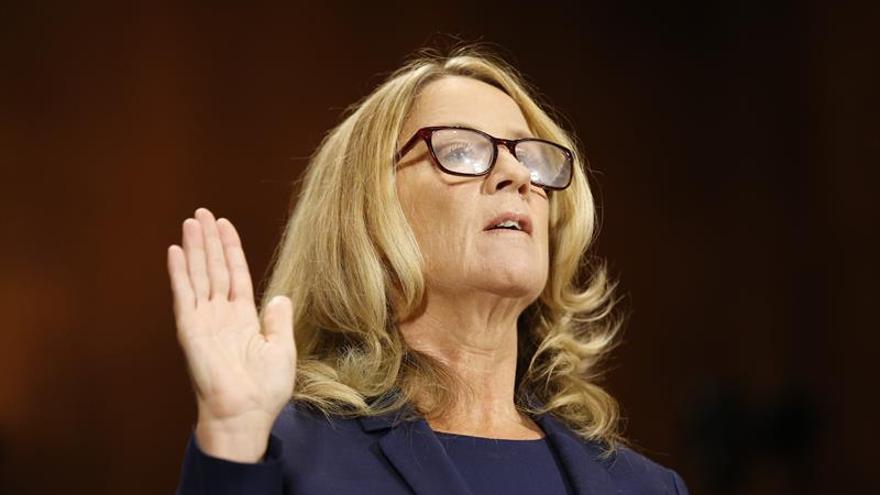 Christine Blasey Ford, una de las denunciantes de abusos por parte del juez nominado al Tribunal Supremo Brett Kavanaugh, en su comparecencia ante el Senado.