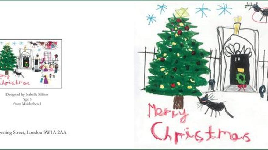 Tres niñas diseñan las tarjetas navideñas de la primera ministra británica
