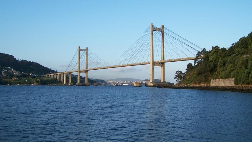 Tramo de la AP-9 en el puente de Rande (Vigo), antes del inicio de su ampliación