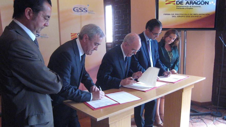 Firma del protocolo de implantación del Grupo GSS en Ateca. Año 2010.