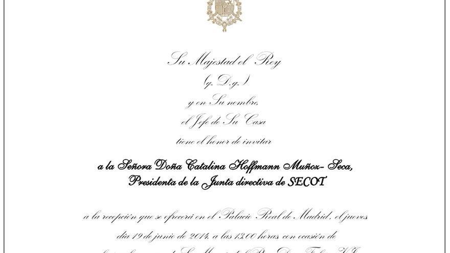 Invitación enviada por la Casa Real a Catalina Hoffmann
