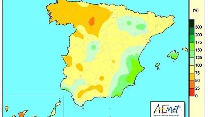 Porcentaje de la precipitación acumulada el último año hidrológico.