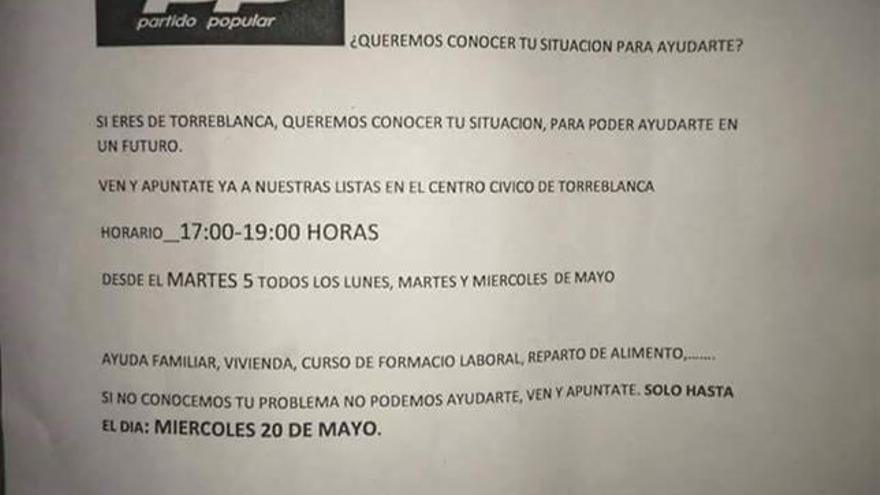 Admitida a trámite la denuncia por las octavillas del PP en Torreblanca, según el PSOE