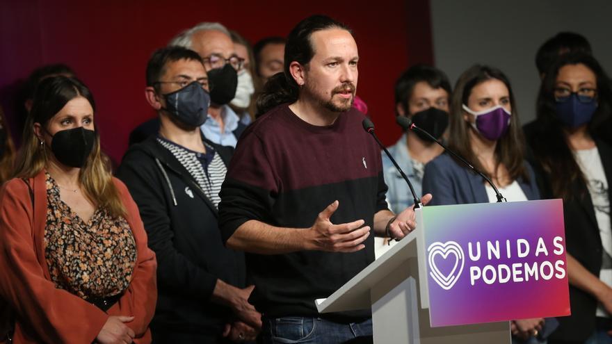 Archivo - El candidato de Unidas Podemos a la presidencia de la Comunidad de Madrid y secretario general de Podemos, Pablo Iglesias, durante una rueda de prensa tras las votaciones de la jornada electoral, a 4 de mayo de 2021, en Madrid (España).