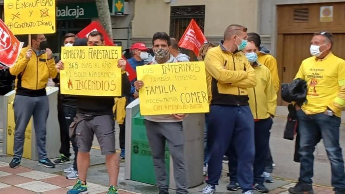 Concentración de trabajadores de GEACAM en Ciudad Real
