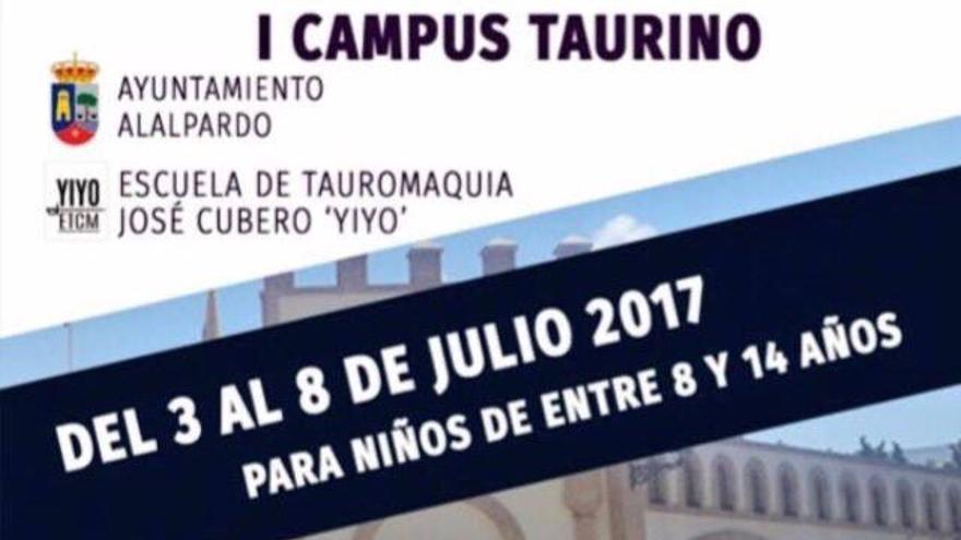 Cartel promocional del Campus Taurino organizado por la escuela de la Comunidad de Madrid