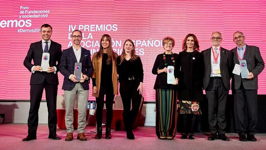 Foto de los galardonados en los IV Premios de la Asociación Española de Fundaciones.
