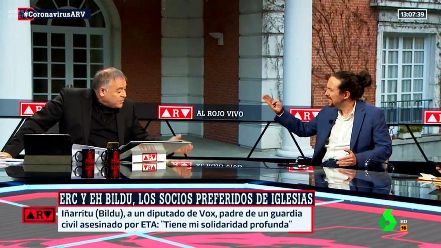 Ferreras y Pablo Iglesias en 'Al Rojo Vivo'