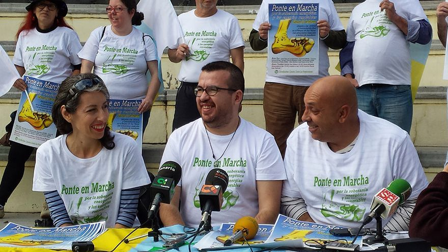 La Coordinadora Canaria contra las Prospecciones en la rueda de prensa celebrada en Las Palmas de Gran Canaria.