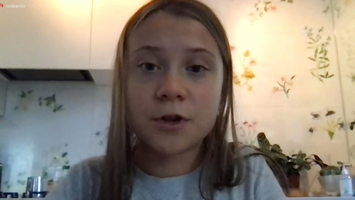 La activista sueca Greta Thunberg en la rueda de prensa virtual previa a la huelga del 24-S.