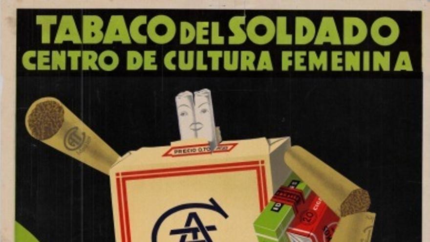 Cartel de Gráficas Laborde y Labayen solicitando el envío de tabaco al frente