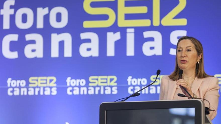 La ministra de Fomento, Ana Pastor, durante su intervención hoy en el foro que organiza la cadena SER en Canarias. EFE/Ángel Medina