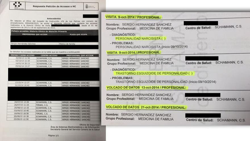 Extractos de la historia clínica de la exmujer del médico remitido por el Servicio Canario de Salud al Juzgado.