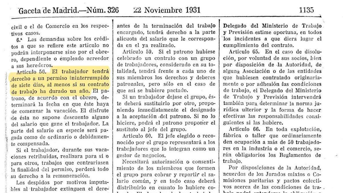 Extracto de La Ley de Contrato de Trabajo de 1931 que recoge el derecho a vacaciones.