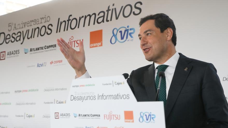 Juan Manuel Moreno Bonilla, durante el desayuno informativo de Europa Press.