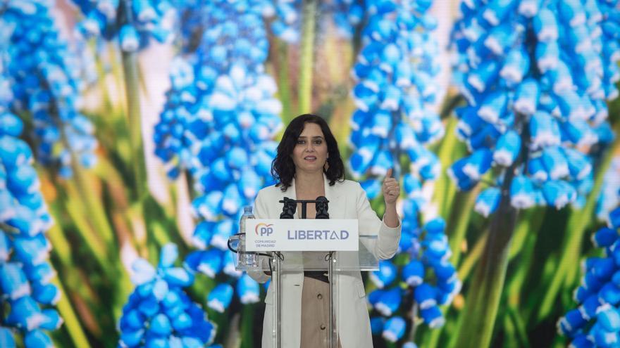La presidenta de la Comunidad de Madrid y candidata a la reelección, Isabel Díaz Ayuso, durante un acto de campaña