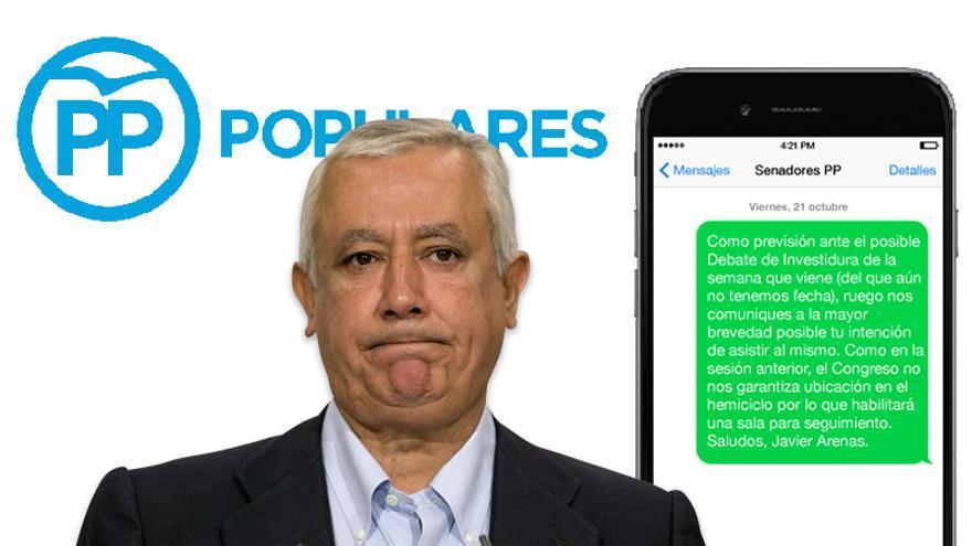 SMS de Javier Arenas a los senadores del PP, enviado el viernes 21 de octubre
