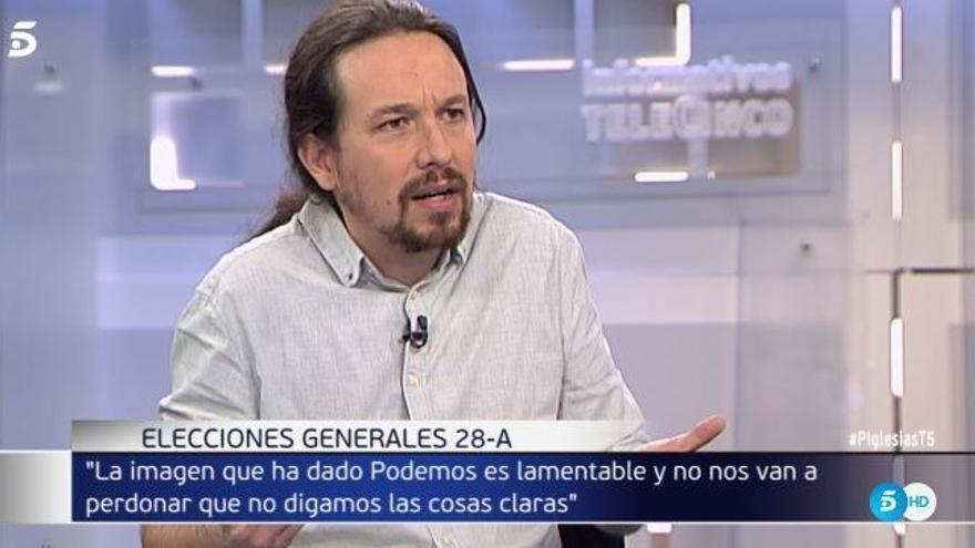 Pablo Iglesias, durante la entrevista de este lunes en Telecinco