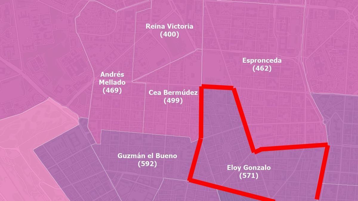 Incidencia de nuevos casos de Covid-19 detectados en Chamberí a 20 de abril, con la zona confinada marcada en rojo