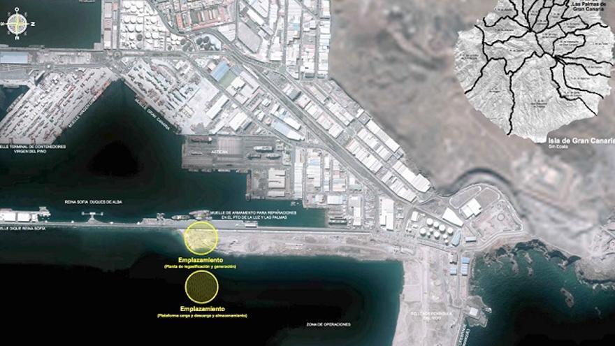 Emplazamiento y vista aérea del proyecto GNL (Gas Natural Licuado)