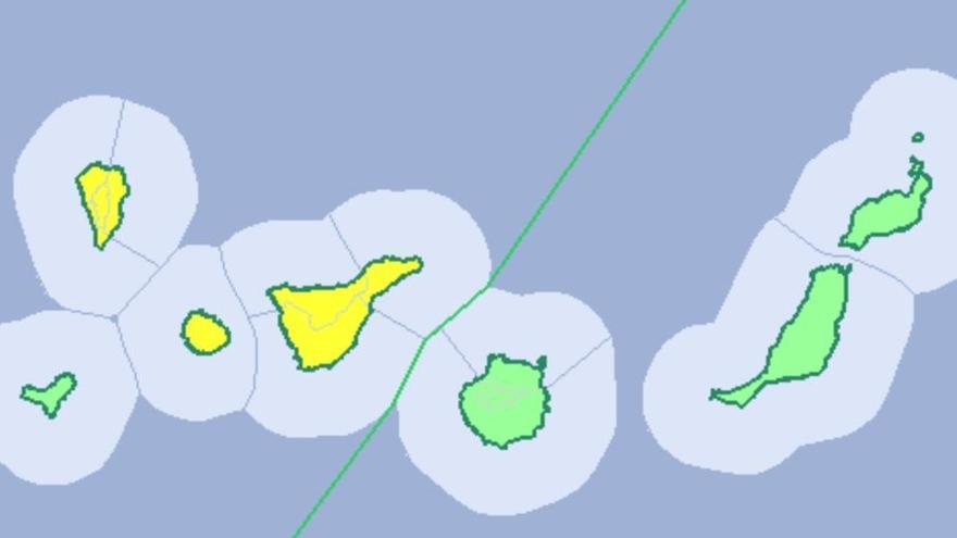 Mapa de la Aemet con los avisos meteorológicos previstos para este viernes, 28 de marzo