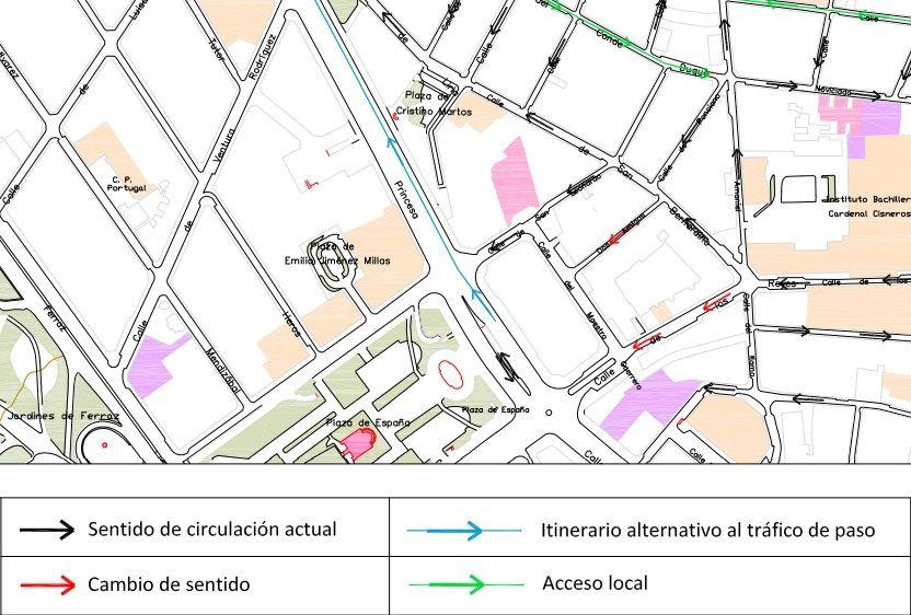 Plano de los cambios que descongestionarán Amaniel (pincha para descargarlo) | AYUNTAMIENTO DE MADRID