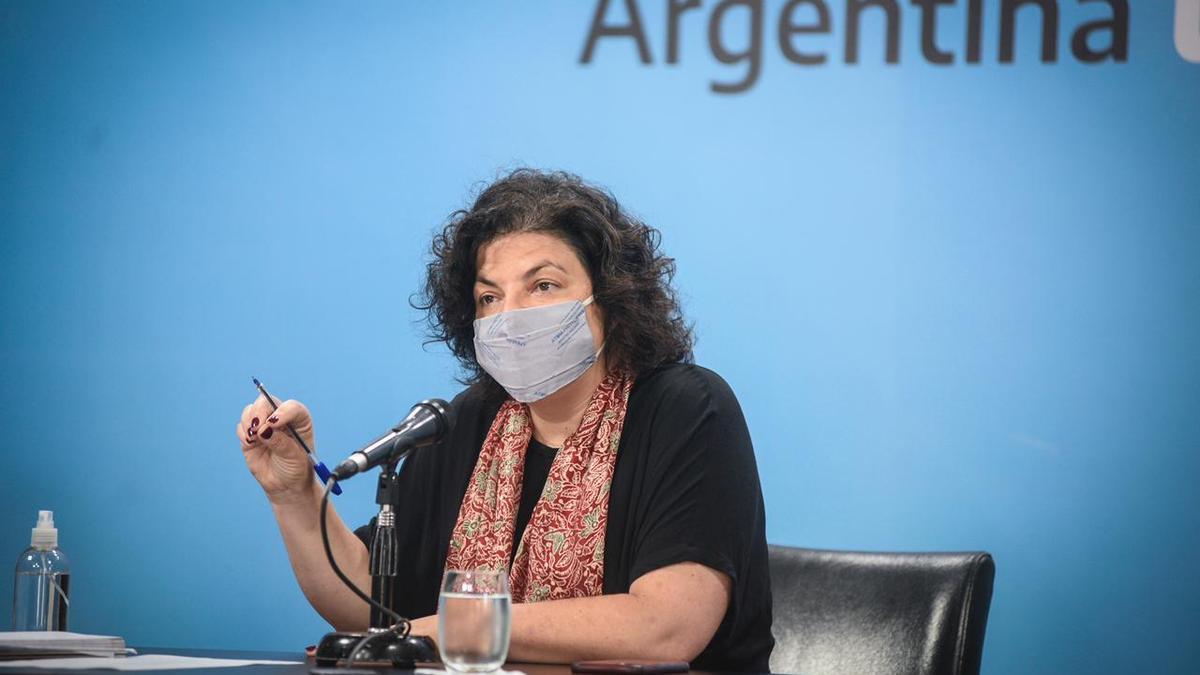 Carla Vizzotti en conferencia de prensa en Casa Rosada. La funcionaria declaró por escrito ante el fiscal Marijuan.
