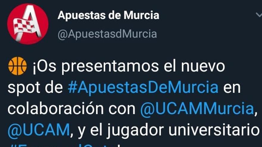 Tuit de Apuestas de Murcia en el que se menciona a la UCAM. Al poco tiempo fue eliminado.