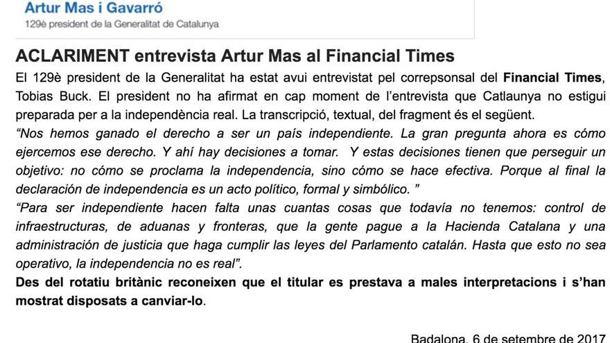 Aclaración de Artur Mas a una entrevista en el FT.