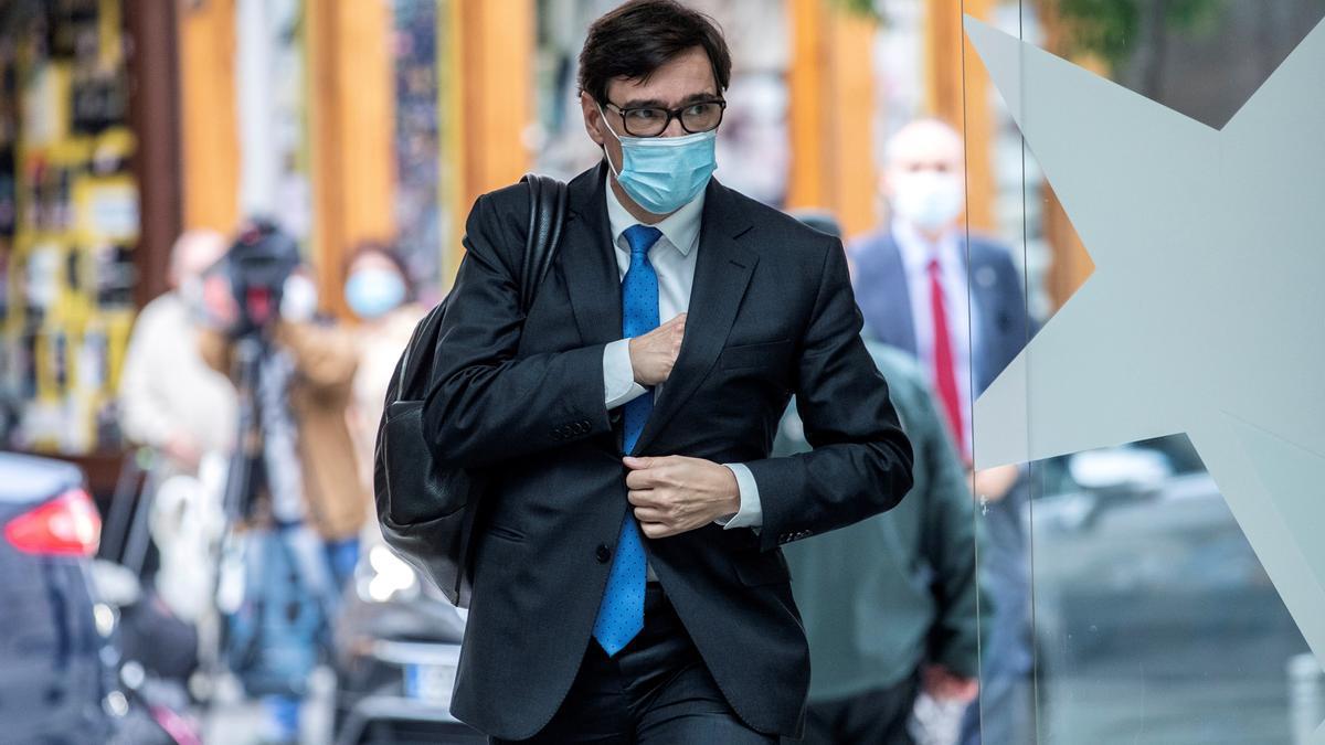 El ministro de Sanidad, Salvador Illa, el jueves pasado a su llegada a una reunión en la Comunidad de Madrid. EFE/Rodrigo Jiménez