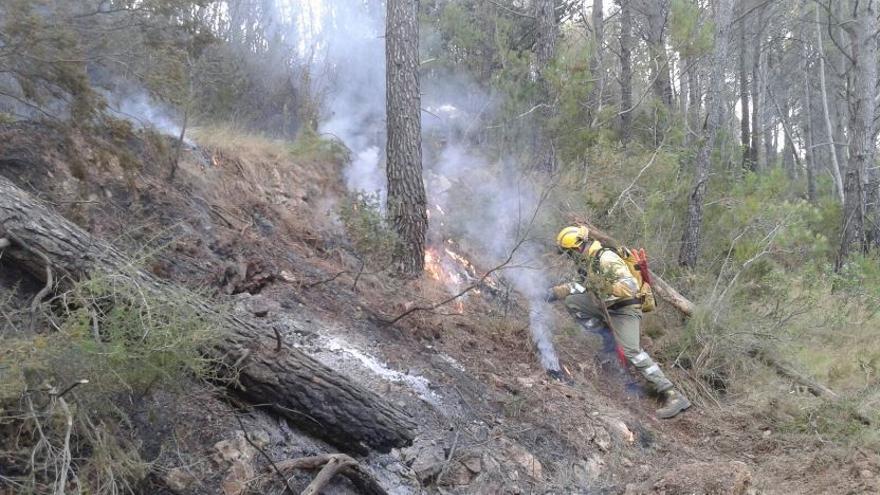 Bomberos forestales trabajando en las labores de extinción del incendio de Artana.